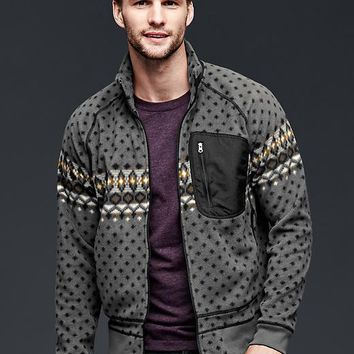 Gap Men Polar Fleece Print Zip Mockneck Jacket