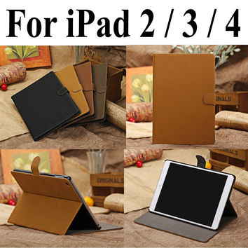 Genuine Leather Case For iPad 2 / 3 / 4 Stand Smart Cover