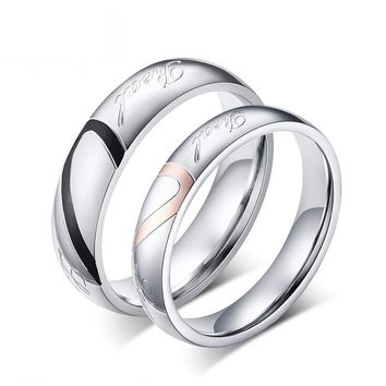 Couple Wedding Rings Love Heart Puzzle Promise Ring