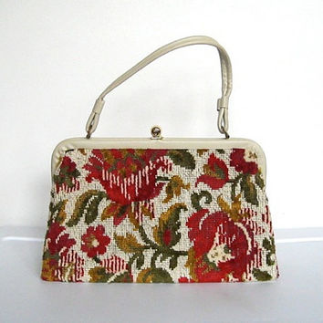 Vintage 1960s Vinyl and Floral Tapestry Carpet Bag Purse / Needlepoint Handbag
