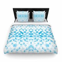 "Vasare Nar ""Light Blue Geometric"" Digital Blue Woven Duvet Cover"