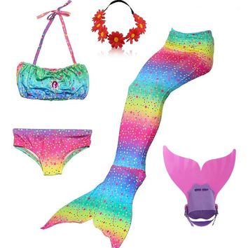 swimmable mermaid tails with monofin children tail mermaid tails for children swim girls monofins kids swimming costumes