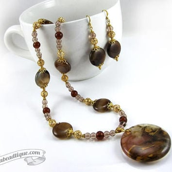 Brown Necklace Set statement necklace earrings set agate necklace birthstone earrings gemstone necklace pendant girlfriend gift for wife