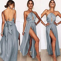 Fashion new solid color sexy open back halter split skirt