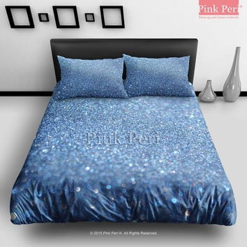 Blue Sea Sparkle Glitter Bedding Sets Home & Living Wedding Gifts Wedding Idea Twin Full Queen King Quilt Cover Duvet Cover Flat Sheet Pillowcase Pillow Cover 041