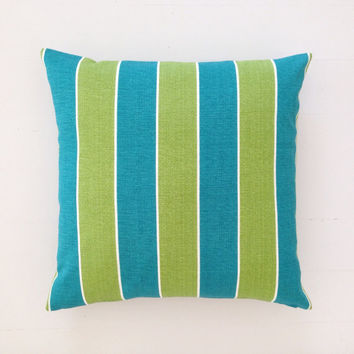 Outdoor cushion - teal turquoise & lime striped designer cushion cover 50 x 50 cm - FREE SHIPPING Australia wide