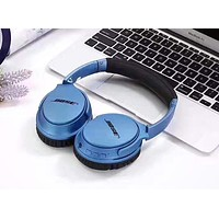 Wireless Magic Sound Bluetooth Wireless Hands Headset MP3 Music Headphone with Microphone Line-in Socket TF Card Slot Blue