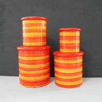 1970's Vintage Willow Orange and Yellow Tin Canisters Good Used Condition  #10023