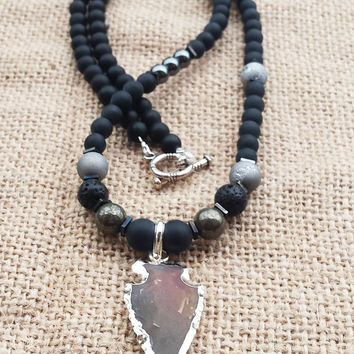 Jasper Arrowhead Pendant Mens Necklace Gemstones Bead Necklace Pyrite Hematite Onyx Geode  Necklace Gifts For Him Boyfriends Gifts Arrow