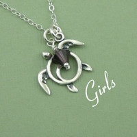 Sea Turtle Necklace - children's jewelry - girls birthstone necklace - sterling silver - christmas gift