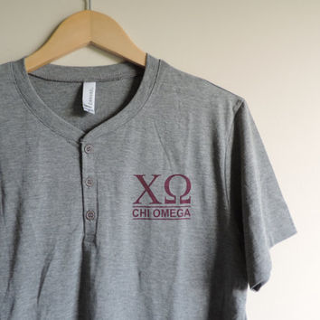 New Chi Omega Gray & Maroon Henley Short Sleeve Shirt // Size MEDIUM // Only One // Ready to Ship