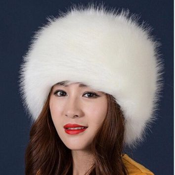 VONESC6 2017 New Style Winter Thick Warm Headgear Faux Fox Fur Women Hats Hot Fashion Cute Casual Female Elegant Caps