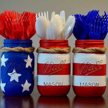 American Flag 4th of July Decor, Mason Jar, Stars & Stripes, Distressed, Set of Three, Decorative Utensil Holder, Home Decor