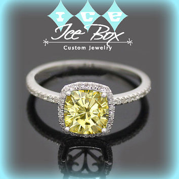 Canary Yellow Moissanite Engagement Ring 1.4ct Cushion Cut Yellow  Moissanite in a 14k White Gold Diamond Milgrain Scrollwork Halo Setting
