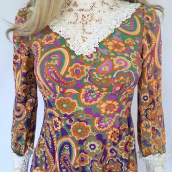 Vintage 1960's Women's Crocheted CoTTon Lace PsYcHeDeLiC CoLoR ChAnGinG Paisley Edwardian Victorian Prairie Dress HiPPiE BoHemian BoHo S