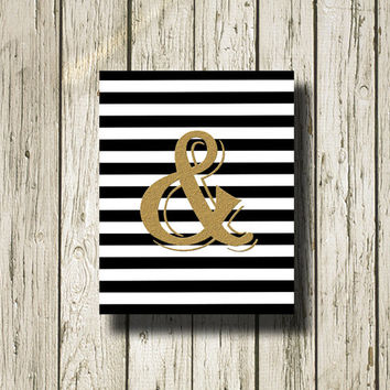 AMPERSAND Gold Print Black and White Stripe Printable Instant Download Gold Black White Digital Art Print Wall Art Home Decor G087bws