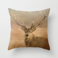 Autumn Stag Throw Pillow by Linsey Williams