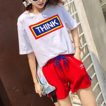 """Adidas"" Women Casual Fashion Multicolor Letter Pattern Print Short Sleeve Shorts Set Two-Piece Sportswear"