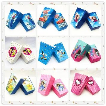 6pcs/set Frozen Anna And Elsa Lightning Mcqueen  Mickey Minnie Mouse  Spiderman Avengers Minions Popcorn Box Party Supplies