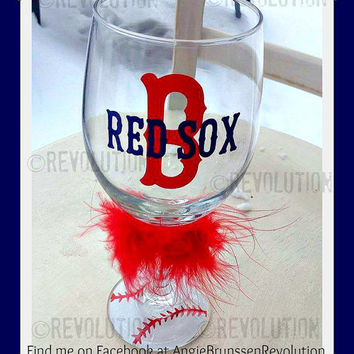 Boston Red Sox Inspired Wine Glass with Baseball Bottoms, Boston, Red Sox, baseball, wine glass, super fan gift, wine glass
