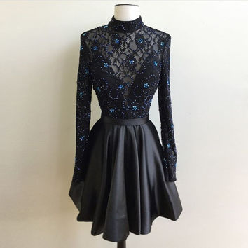 2017 New Black Short Cocktail Dresses High Neck Long Sleeve Party Dress with Beaded Backless Lace Satin Prom Gowns JW22