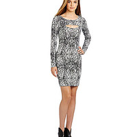Guess Cutout Long-Sleeve Dress - Grey