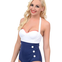 Vintage Style Pin-Up Navy & White Two Tone Sailor Sweetheart Maillot Swimsuit
