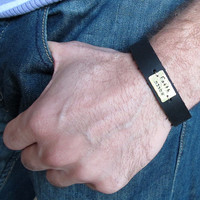 Custom Mens Bracelet / Personalized Mens Leather Band  / Gift for Him / Father days Gift