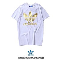 Adidas Summer New Fashion Bust Letter Leaf Print Women Men Leisure Top T-Shirt White