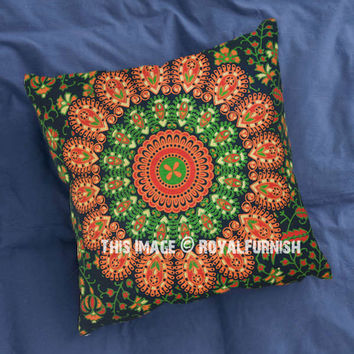 Green  Orange Decorative and Accent Mandala Throw Pillow Case 16X16 Inch on RoyalFurnish.com