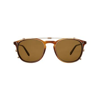 Garrett Leight - Kinney Clip 49mm Brushed Gold Clip-On Sunglasses / Brown Lenses