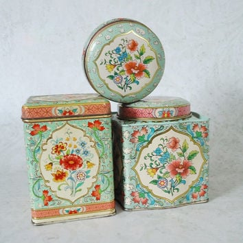 Vintage Decorative Floral Tin Canisters, Shabby Chic Instant Tin Collection