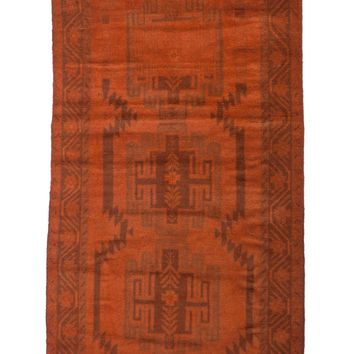3x6 Overdyed Vintage Tribal Burnt Orange Rug 2527