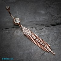 Rose Gold Sparkle Showers Belly Button Ring