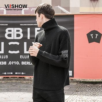 VIISHOW Turtleneck Sweater Men Pullovers Oversize Print Slim Men Knitting Sweaters Christmas Sweater Casual Long Sweater ZC08763