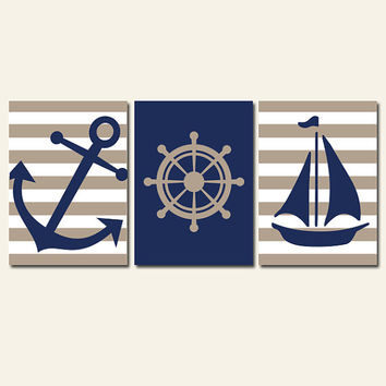 Nautical Wall Art Nursery Bathroom Canvas Navy Blue Yellow Preppy Artwork Ocean Girl Boy Anchor Boat Wheel Pick Colors Set of 3 Prints Three