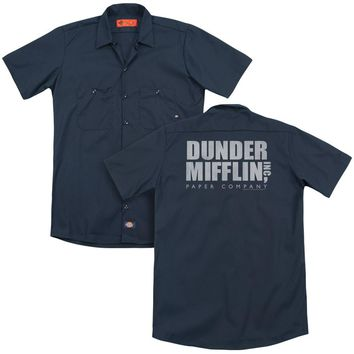 The Office - Dunder Mifflin Distressed (Back Print) Adult Work Shirt