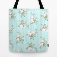 Shabby chic roses pink and mint Tote Bag by Mercedes