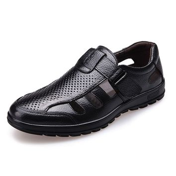 ABDB-Genuine Leather Men Sandals Shoes Fretwork Breathable Fisherman Shoes Style Retro Gladiator Soft Bottom summer Classics m
