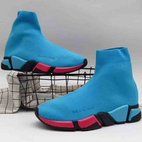 Balenciaga high top tide brand trendy women casual stretch sneakers F-A36H-MY Blue