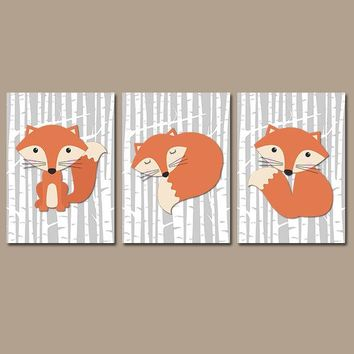 FOX Wall Art, FOX Nursery Art, Fox Decor, Fox Birch Trees, Woodland Nursery Decor, Wood Forest Animals, CANVAS or Prints, Set of 3 Pictures