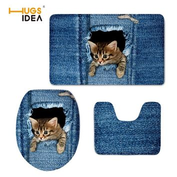 HUGSIDEA Funny Washable Toilet Seat Case Warmer Print Denim Cat Carpet Toilet Seat Cover Soft Thick Comfortable WC Mat Pad