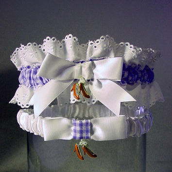 wedding garter set Ruby Slipper  Wizard of Oz by PetereneDesign