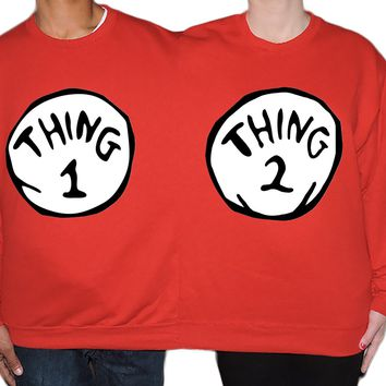 Thing 1 Thing 2 Couples Two Person Halloween Sweater