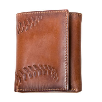 Men's Wallet - Leather Wallet - BASEBALL Embossed Trifold Leather Wallet