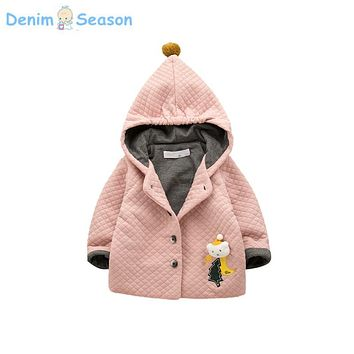 Denim Season 2017 Winter Girl Baby Coat Cute Hooded Thicken Christmas Party Princess Kids Outerwear Jacket Sweet casaco infantil