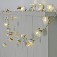 Longer White Shabby Rose Fairy Lights - perfect wedding decor lighting