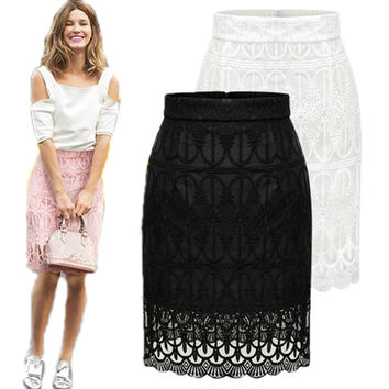 Autumn Women Skirt Vintage Embroidery Lace Skirts Package Hip High Waist Skirts Womens Black White Knee Length Pencil Skirt
