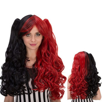 Long Wavy Oblique Bang Colormix Synthetic Lolita Wig with Bunches