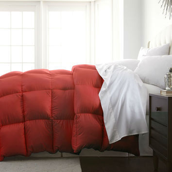 King Size Brick Red Orange Down Alternative Comforter - Hypoallergenic